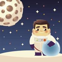 astronauta espacial personagem planeta e estrelas cosmos desenho animado vetor