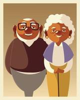 retrato casal fofo sênior masculino e feminino, personagens dos avós vetor