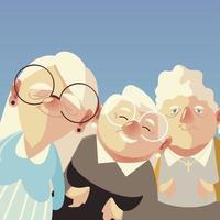 pessoas idosas, bonito retrato cartoon mulheres idosas vetor