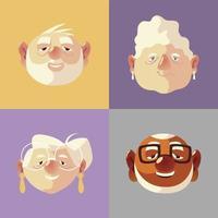 idosos, rostos de avôs idosos e desenhos animados da avó vetor