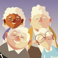 pessoas idosas, grupo fofo vovô e desenhos de personagens de avós vetor