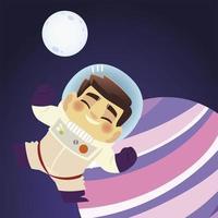 espaço feliz astronauta personagem lua e planeta desenho animado vetor