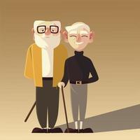 pessoas idosas, dois vovôs com óculos e personagens walk-stick vetor