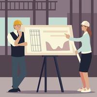 construtores e arquitetos, arquiteto e arquiteta analisando o plano de projeto vetor