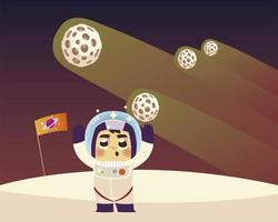 astronauta espacial, personagem, bandeira, planetas, e, cometa, desenho vetor