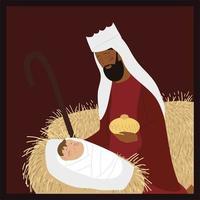 presépio bebê jesus com manjedoura rei sábio melchior vetor