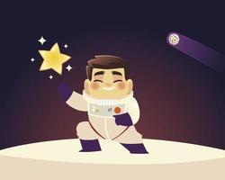 astronauta espacial de terno com desenho de estrela e galáxia do planeta vetor
