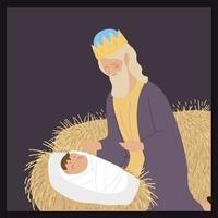 natividade bebê jesus caspar sábio rei com manjedoura de presentes vetor