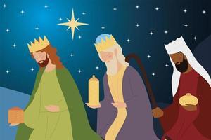 presépio três reis sábios com presentes na manjedoura noturna vetor
