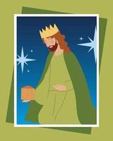 cartão comemorativo do personagem rei sábio balthazar da natividade vetor