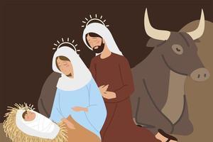 presépio joseph mary baby jesus e boi manjedoura vetor