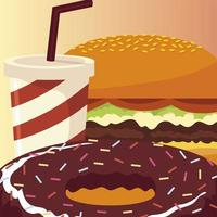 comida hambúrguer donut de chocolate e refrigerante com canudo vetor