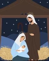 presépio com Mary Joseph bebê no estábulo, cena noturna da manjedoura vetor