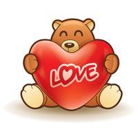 Ursinho de pelúcia abraçando um coração