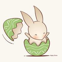 coelho dentro de um ovo de Páscoa rachado. vetor