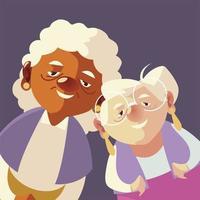 idosos, desenhos animados bonitos personagens de mulheres idosas juntos vetor