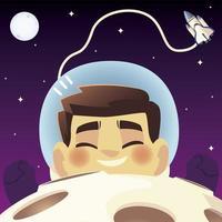 espaço flutuante astronauta nave espacial planeta e desenho da lua vetor