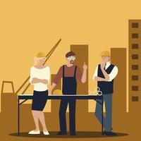 construtores e arquitetos, reunião de equipe de projeto de planejamento de grupo vetor
