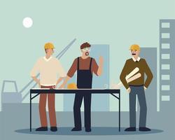 construtor e arquitetos masculinos no local da construção com plantas vetor