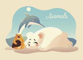 animais desenho animado urso polar golfinho e castor vetor