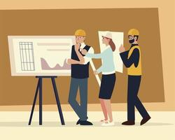 construtores e arquitetos, trabalhadores com planta no escritório de reuniões vetor