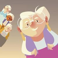 idosos, personagens engraçados de mulheres idosas maduras vetor