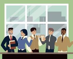 homens de negócios e mulheres no escritório discutindo reunião de trabalho em equipe vetor