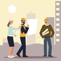 construtores e arquitetos, arquitetos e empreiteiros discutindo o projeto vetor