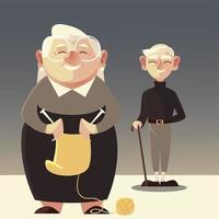 pessoas idosas, homem velho e mulher idosa com lã vetor