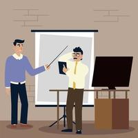 empresários, empresários trabalhando com planejamento de apresentação de diretoria vetor