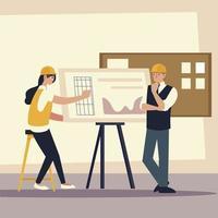construtores e arquitetos, reunião da equipe de arquitetos femininos e masculinos vetor