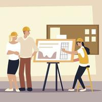 construtores e arquitetos, trabalhadores masculinos e femininos com projeto vetor