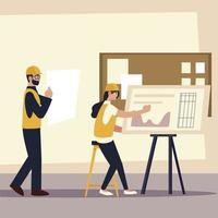 construtores e arquitetos, arquitetos femininos e masculinos no escritório vetor