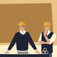 construtores e arquitetos, arquitetos homens analisando desenhos vetor