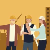 construtores e arquitetos, reunião da equipe de pessoas, planejamento da construção vetor