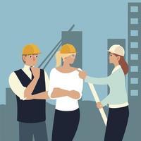 construtores e arquitetos, grupo de arquitetos com plano de ação vetor
