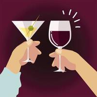 mãos femininas e masculinas com álcool vinho champanhe, brinde vetor