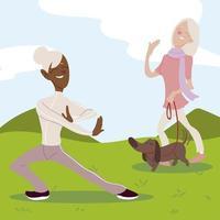idosos ativos, mulheres idosas praticando ioga e caminhando com o cachorro vetor