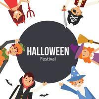 banner de halloween com crianças fantasiadas. vetor