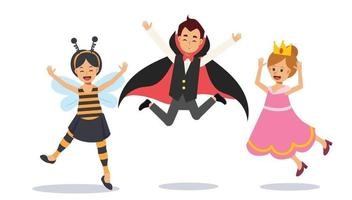lindos filhos com fantasia de halloween estão pulando. vetor