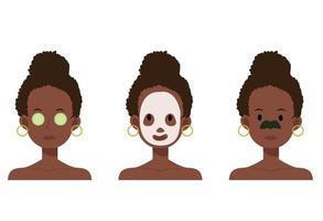 mulher afro-americana com máscara facial, patches de nariz, pepino. vetor