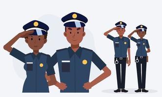 policial afro-americano, policiais masculinos e femininos. vetor