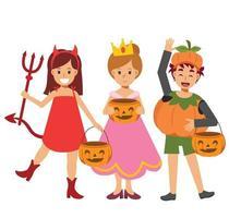 crianças em uma variedade de fantasias de halloween são apreciadas. doçura ou travessura. vetor