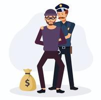 policial pegou o ladrão. Criminoso. vetor