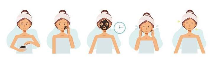 passo de máscaras de argila, rostos de mulheres com tratamentos faciais. rosto cuidados com a pele. vetor