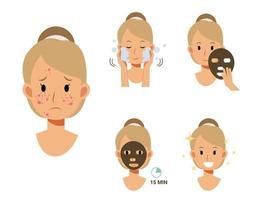 antes e depois da máscara, remova a acne. vetor