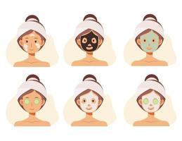 rostos de mulheres com tratamentos faciais. rosto cuidados com a pele. máscaras de argila, máscaras de alginato. vetor