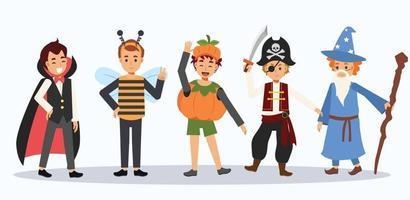 crianças com fantasia de halloween. crianças de halloween. vetor