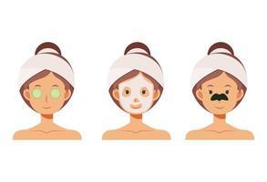 mulher com máscara facial, tapa-olhos, tapa-olho de pepino para a pele. vetor