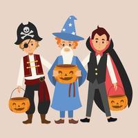 crianças em várias fantasias de halloween vetor